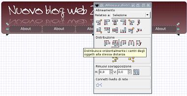 Guida inkscape, inkscape tutorial, web2, header - allineamento oggetti orizzontale