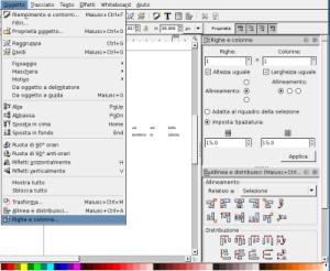 Schermata di creazione griglie e tabella con Inkscape